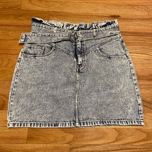 NWOT H&M Acid Wash 80s Paperbag Denim Skirt 10